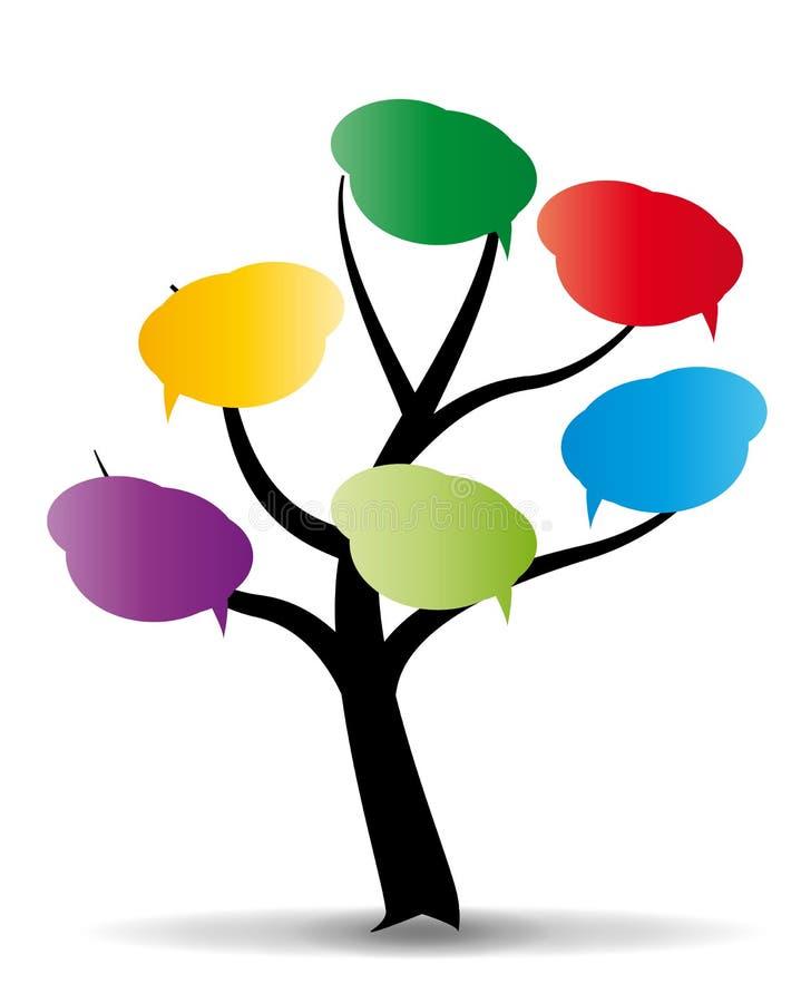 Baloon na árvore estilizado ilustração royalty free