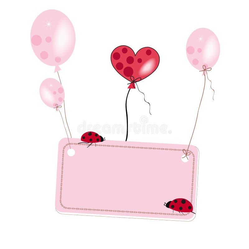 Baloon rosado del vuelo con el lugar para el vector de la mariquita del texto stock de ilustración