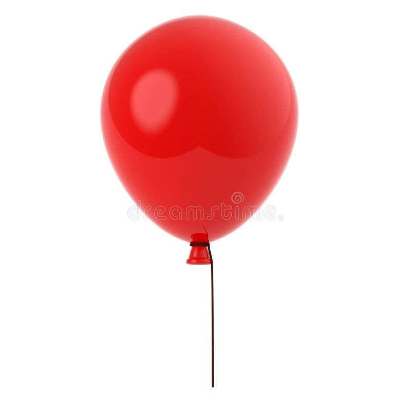 Baloon vermelho com a corda longa isolada no fundo branco 3d rendem a ilustração foto de stock