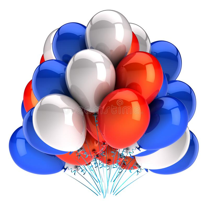 Baloonowie, białe balony na pomarańczowo-niebieskie, błyszczące, kolorowe royalty ilustracja