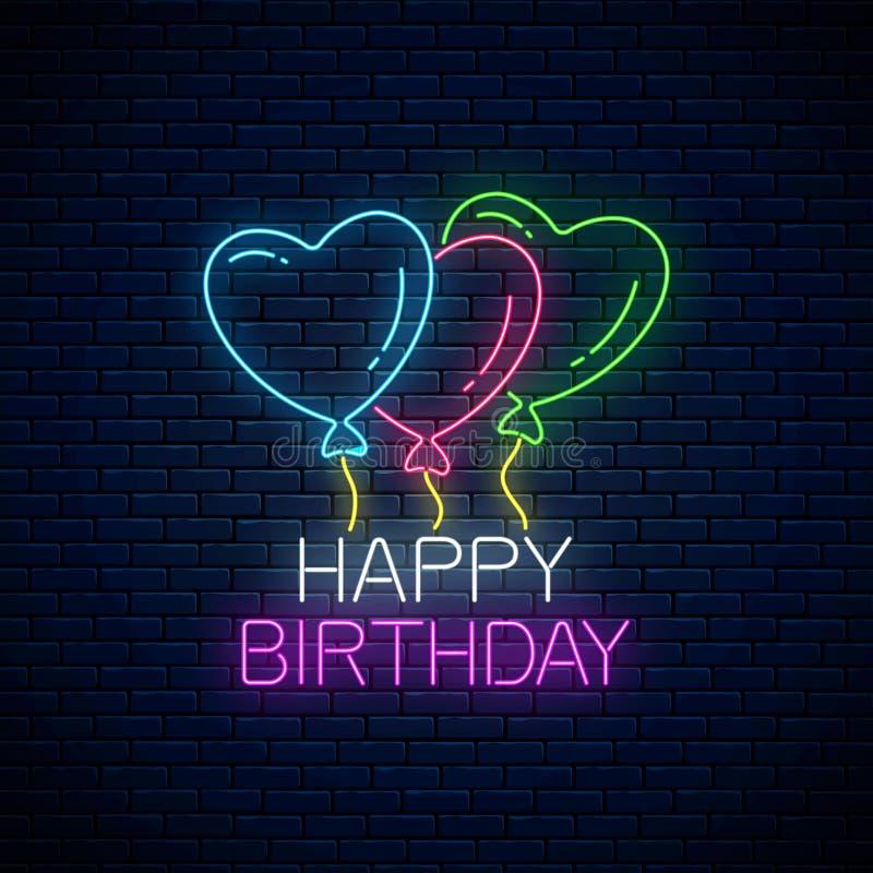 Baloons coloridos de la señal de neón del feliz cumpleaños que brillan intensamente Símbolo de la celebración de los baloons del  stock de ilustración