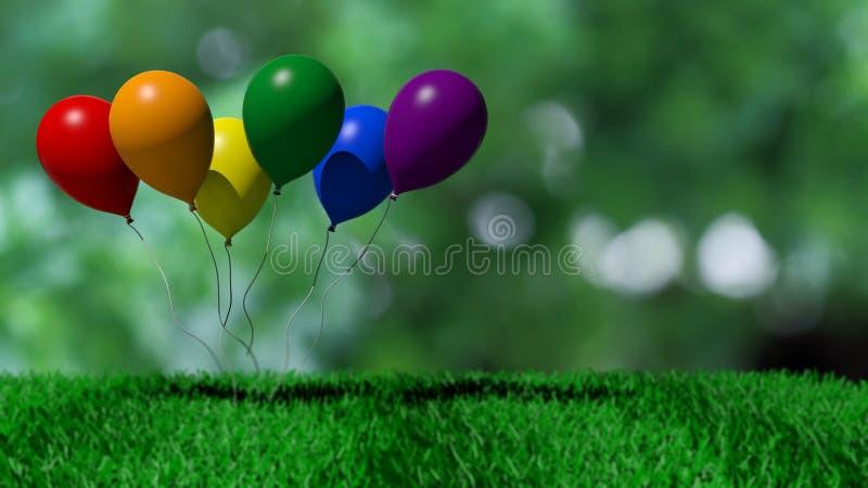 baloons de la representación 3d en colores gay de la bandera stock de ilustración
