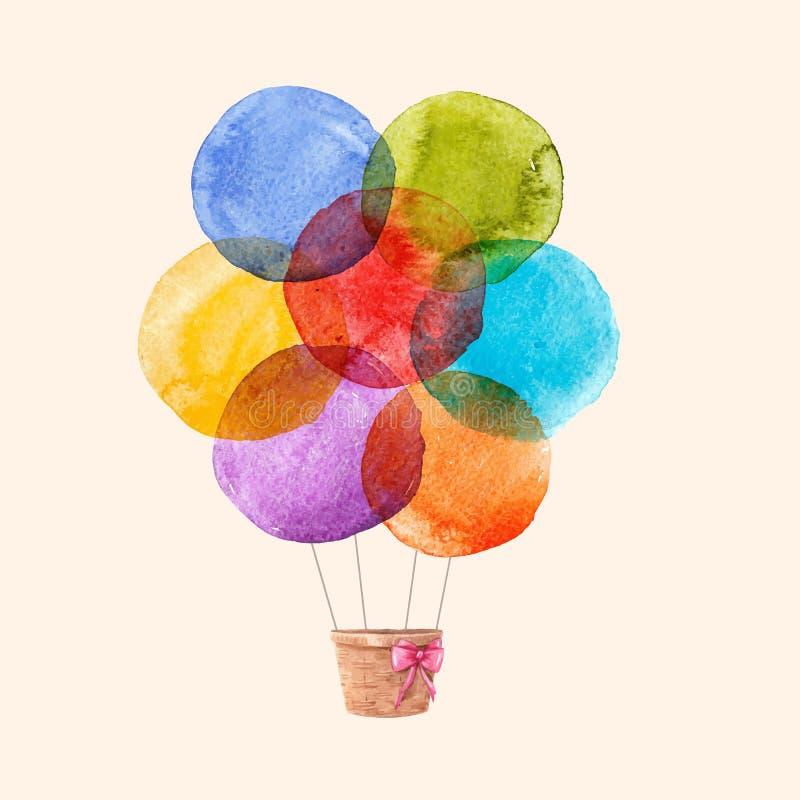 Baloons del aire del vector del arco iris de la acuarela ilustración del vector