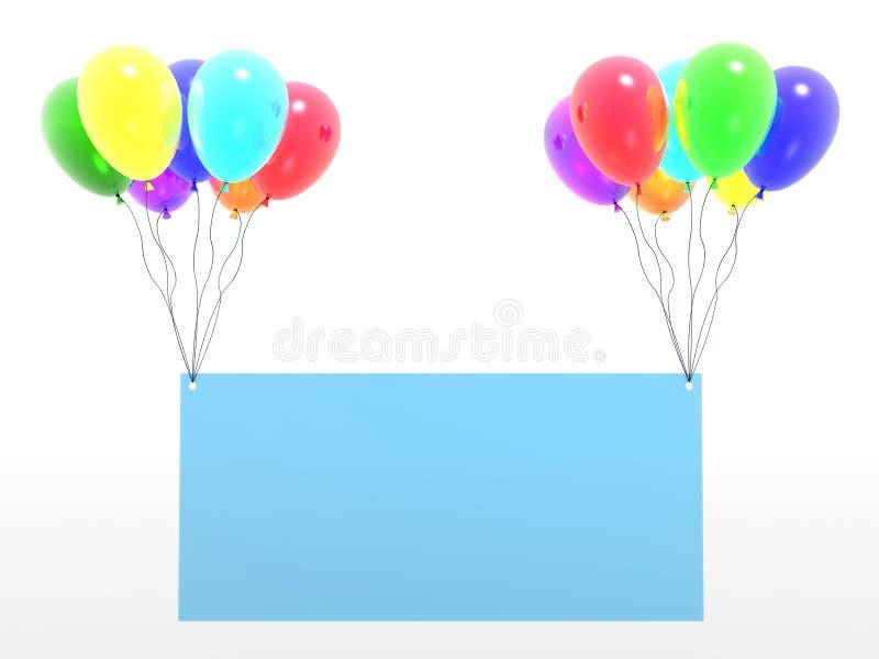 Baloons del arco iris con el espacio en blanco vacío stock de ilustración