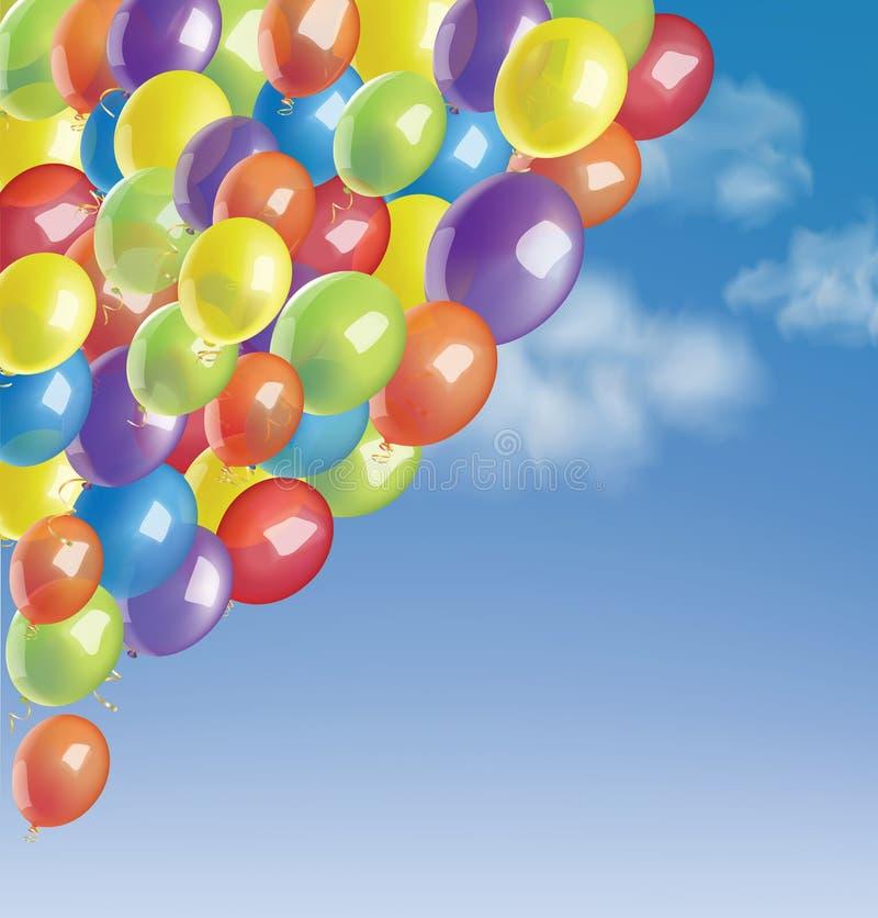Baloons em um céu azul com nuvens ilustração royalty free