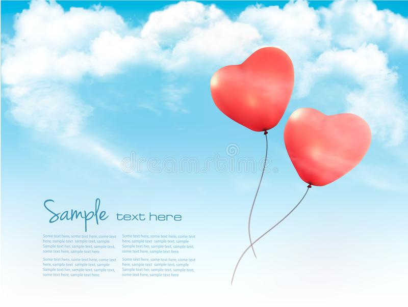 Baloons en forme de coeur de Valentine dans un ciel bleu avec des nuages illustration de vecteur