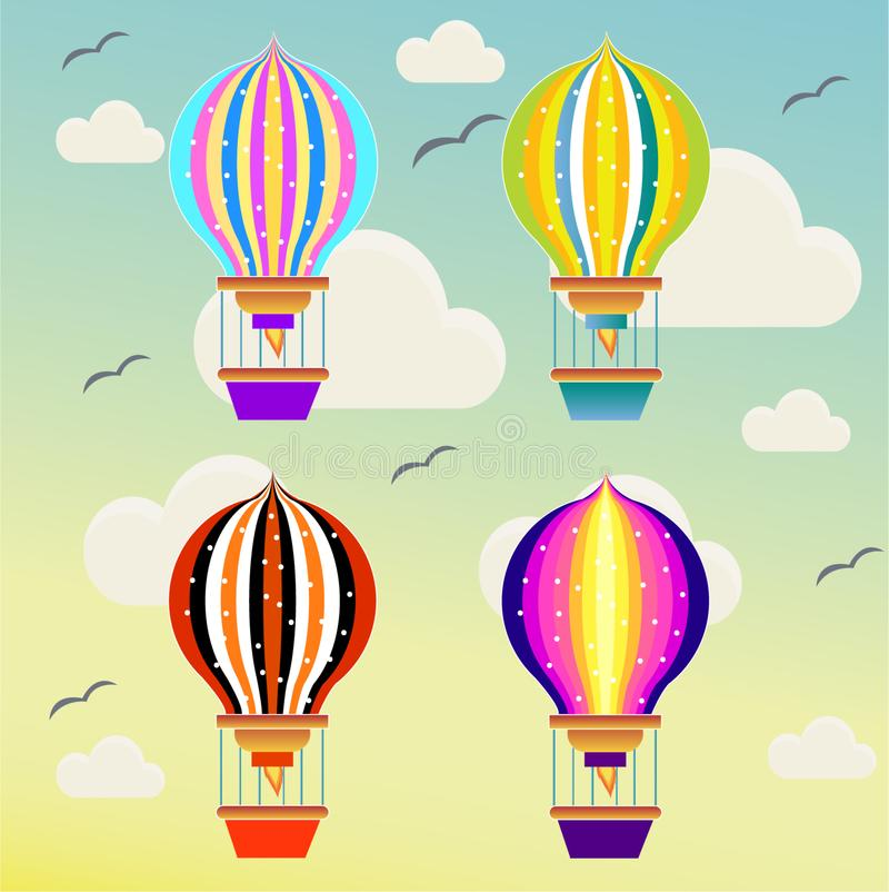 Baloons flying in the sky stock illustration