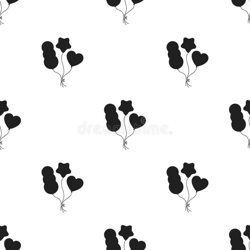 Baloons-Ikone in der schwarzen Art lokalisiert auf weißem Hintergrund Zirkusmustervorrat-Vektorillustration stock abbildung