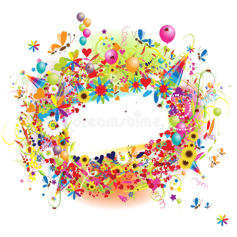 baloons inramniner rolig lycklig ferie royaltyfri illustrationer