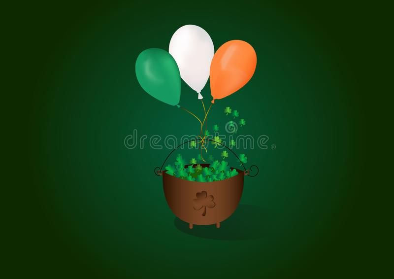Baloons mignons de l'Irlande du jour de St Patrick heureux illustration libre de droits