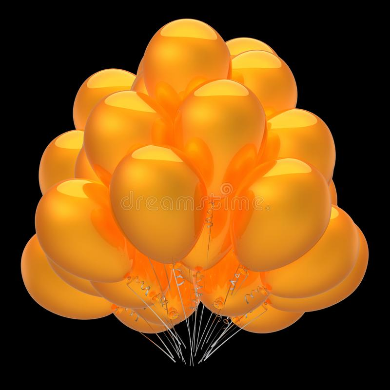 Baloons yellow golden party balloons bunch glossy stock image