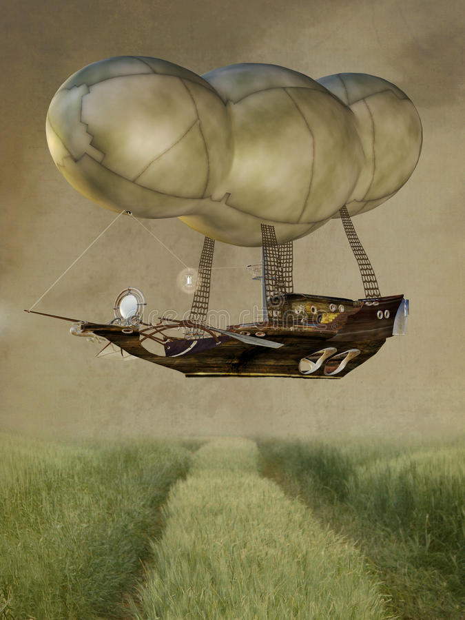 baloonsteampunk royaltyfri illustrationer
