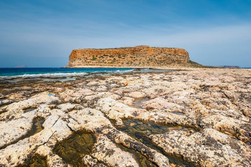 Balos克利特的,希腊盐水湖和格拉姆武萨群岛海岛 免版税库存图片