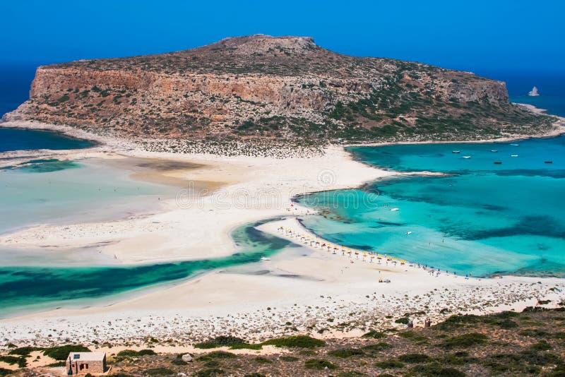 Gramvousa海岛和克利特的Balos盐水湖 免版税库存照片