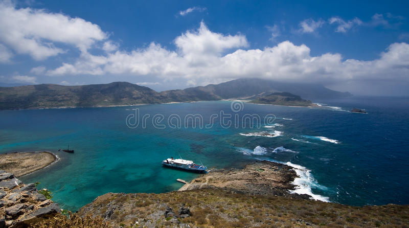 Balos Bay. View from Gramvousa to the Balos bay, Crete, Greece royalty free stock image
