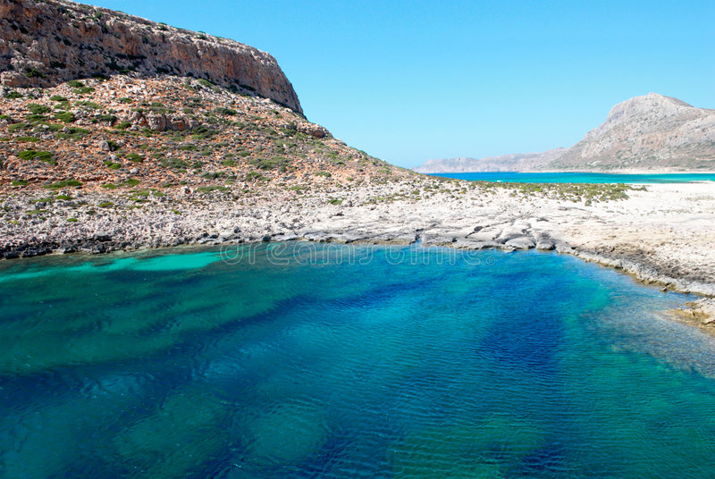 Balos bay. Seascape from of the typical mediterranean fortress. Balos bay. Crete island. Greece stock image