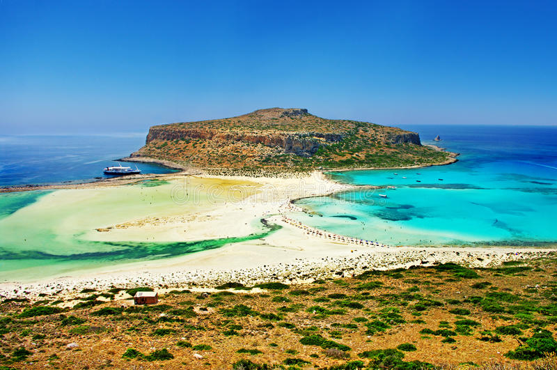 Balos bay (Greece). Amazing view of Balos bay, Gramvousa (Crete, Greece stock photo