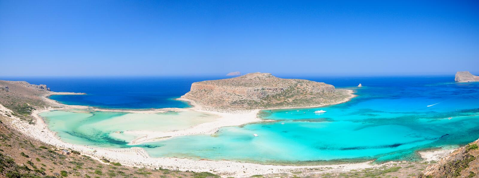 Balos beach Crete. Turquoise water of Balos bay, Crete, Greece stock photography