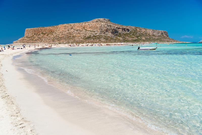 Balos beach, Crete. Beautiful Gramvousa sandy beach at Balos lagoon, western Crete, Greece royalty free stock photos