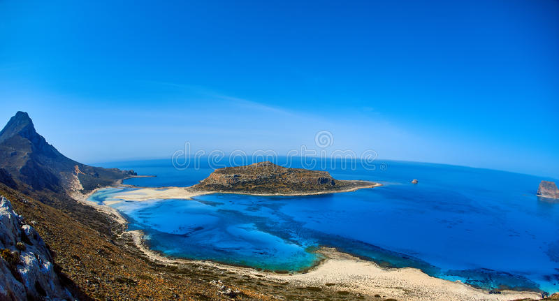Balos beach, Crete. Panoramic view from the top of cliff on Balos beach, Crete, Greece royalty free stock photos