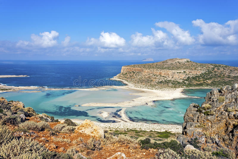 Balos beach at Gramvousa, Crete. Panorama of Balos Lagoon and Gramvousa island on Crete island, Greece royalty free stock image