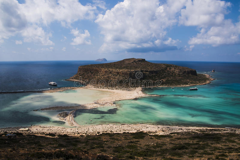 Balos Beach and Lagoon. Balos beach in Kissamos lies in the northwestern tip of Crete, about 55km west of Chania town. Balos is found on the impressive royalty free stock photo