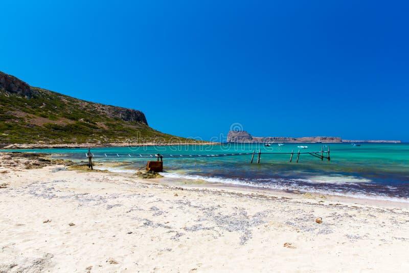 Balos-Strand. Ansicht von Gramvousa-Insel  lizenzfreie stockfotos