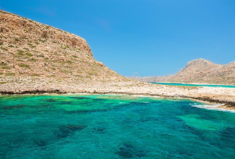 Balos-Strand. Ansicht von Gramvousa-Insel, Kreta in Griechenland. stockfotos