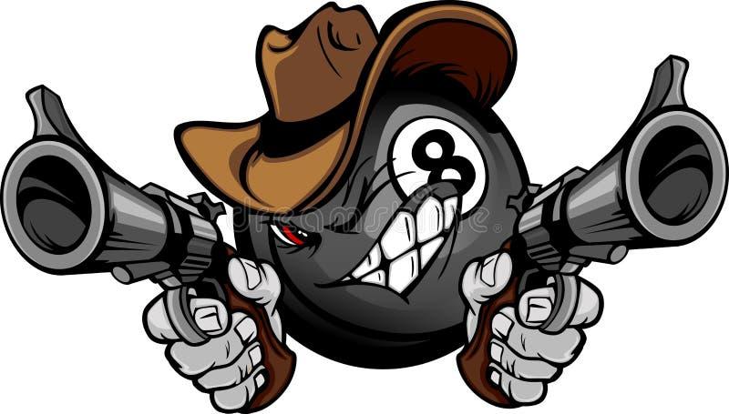 balowa billiards kreskówki kowboja osiem basenu strzelanina ilustracja wektor