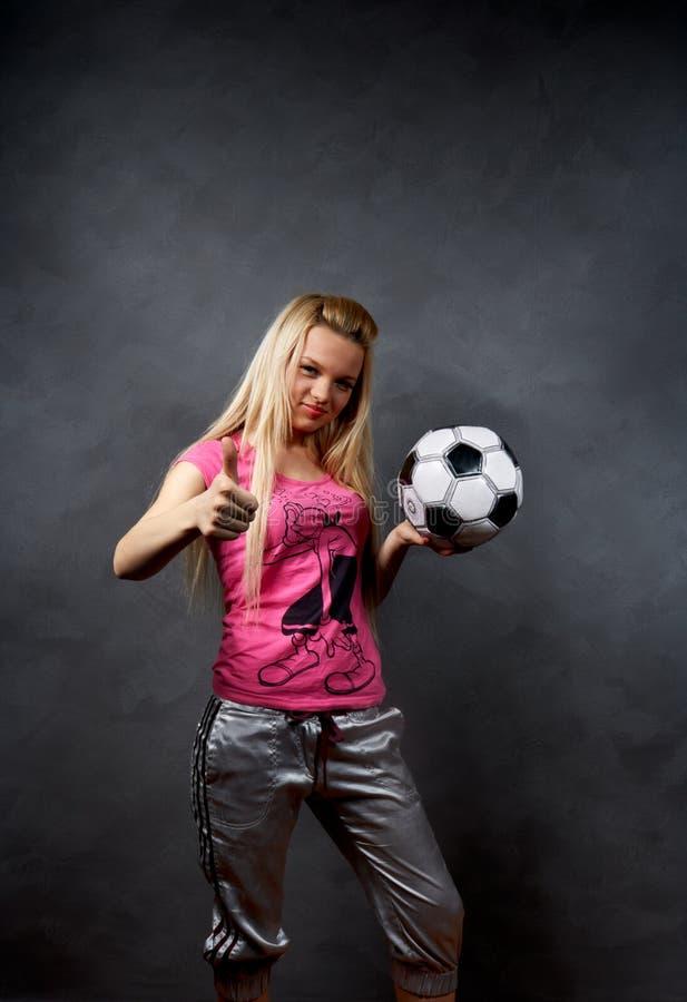 balowa blondynki dziewczyny piłka nożna obrazy stock