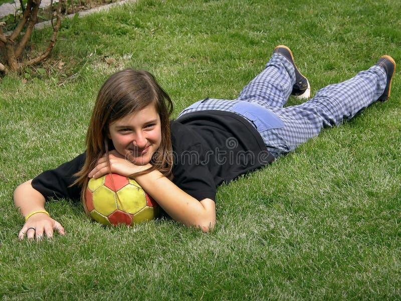 balowa dziewczyny trawy zieleń obraz royalty free