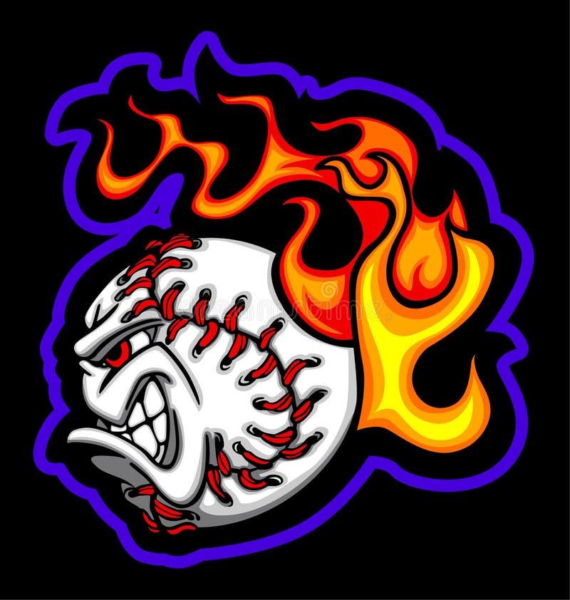 balowej baseballa twarzy płomienny wizerunku wektor ilustracja wektor