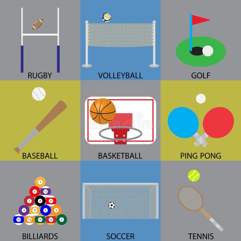 Balowej gry ikony koszykówka, piłka nożna, golf i siatkówka, ilustracja wektor
