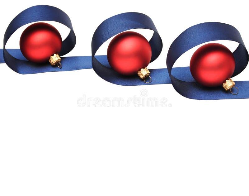 balowy błękitny bożych narodzeń czerwieni faborek fotografia stock