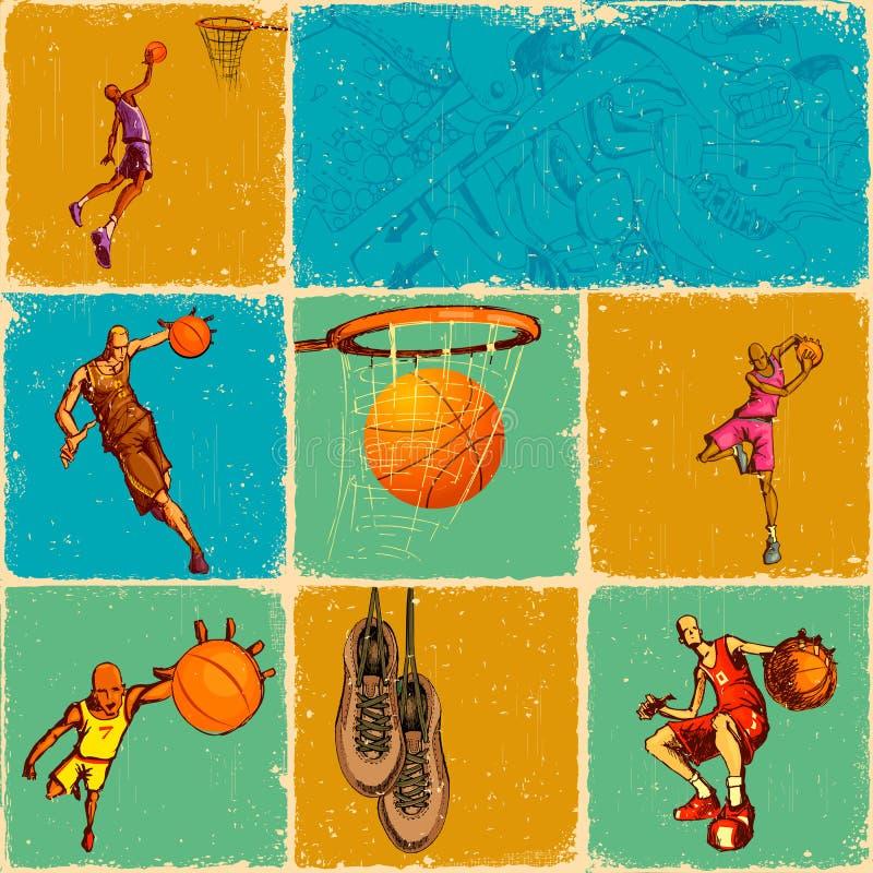 balowy koszykowy kolaż ilustracji