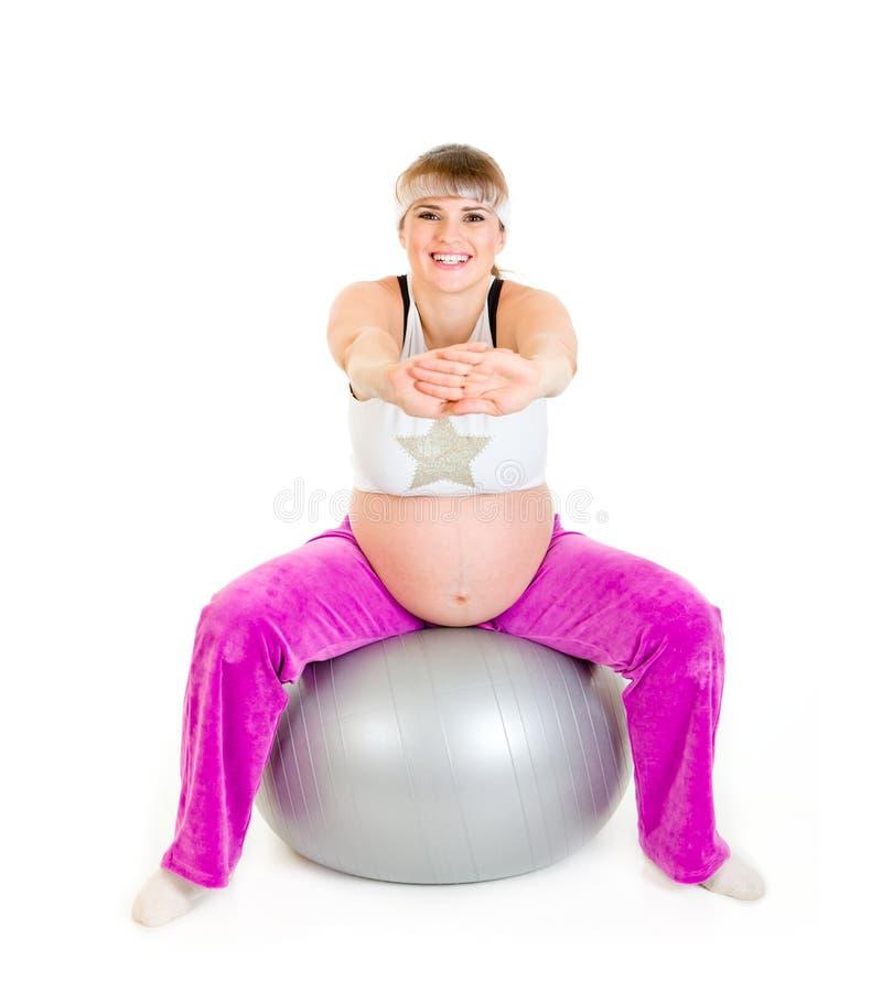 balowy robi ćwiczeń sprawności fizycznej kobieta w ciąży zdjęcie royalty free