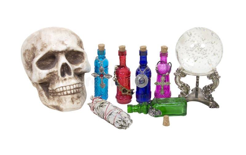 balowych krystalicznych ziele magiczna napojów miłosny czaszka zdjęcia stock