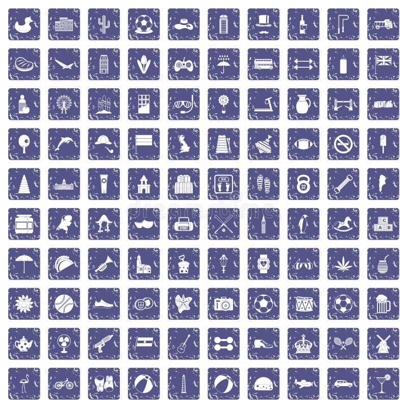 Download 100 Balpictogrammen Geplaatst Grunge Saffier Vector Illustratie - Illustratie bestaande uit engeland, piramide: 107708888