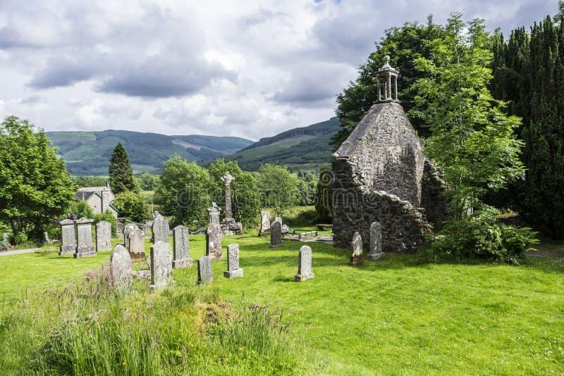 Balquhidder Kirkyard, Skottland arkivbild