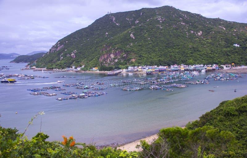 Balsa de la acuicultura en Hong Kong fotos de archivo