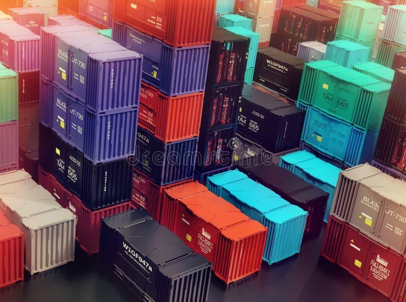 Balsa del almacén del depósito de la ciudad del cargo de la carga de los contenedores imagenes de archivo
