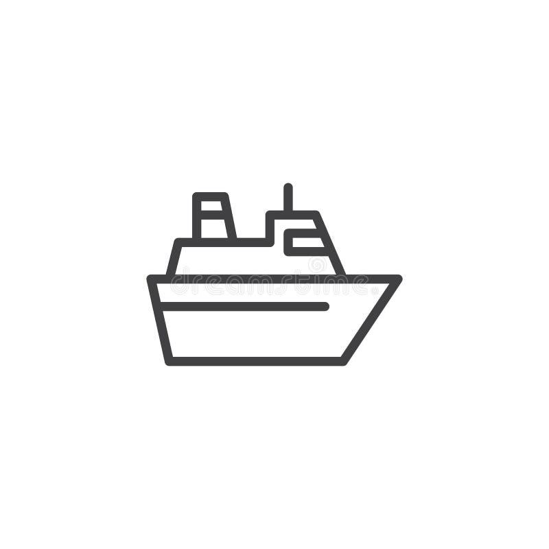 Balsa do mar que enfrenta o ícone direito do esboço ilustração royalty free
