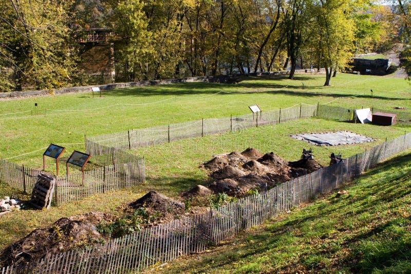 Balsa Dos Harpistas Do Local Da Escavação Da Arqueologia Imagem de Stock Royalty Free