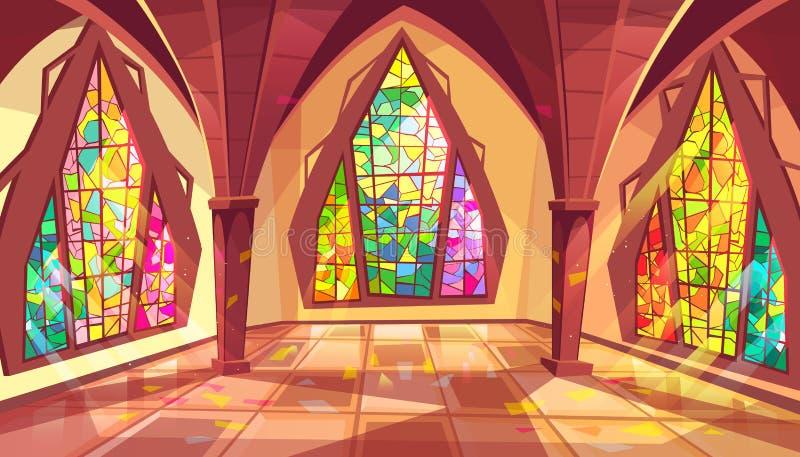 Balsal eller gotisk illustration för slottkorridorvektor vektor illustrationer