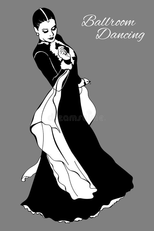 Balsaldans, dam i lång klänning stock illustrationer