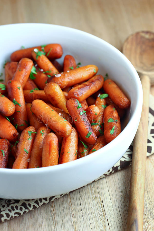 Balsamic Glazed Carrots. Cooked carrots with a balsamic glaze stock photography