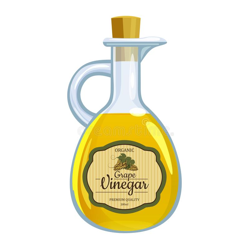 Balsamic ocet w szklanej butelce, etykietki ciemni winogrona wiązka Wektorowy ilustracyjny kreskówki mieszkania styl odizolowywaj ilustracja wektor