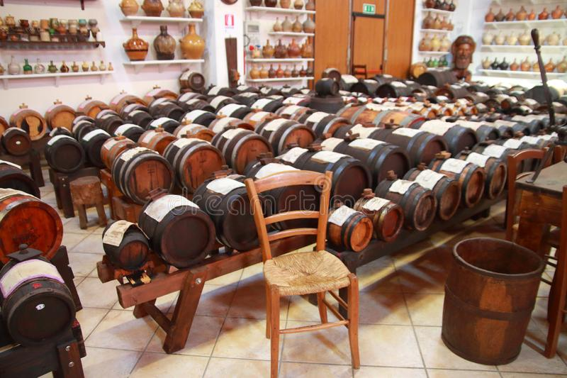 Balsamic vinegar drums in Castelnuovo di Modena. Series of barrels of different kind of woods for the production of the real Balsamic Vinegar of Modena stock photos