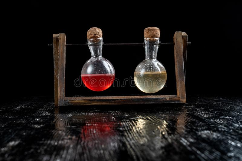 Balsamic vinegar and olive oil in two glasses. stock photography