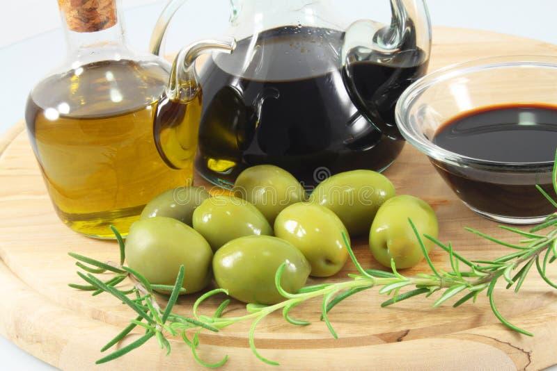 Balsamic vinegar, olives, olive oil stock photo